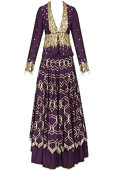 Purple Embroidered Double Layered Lehenga Skirt with Jacket