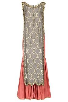 Mud Grey Embroidered Kurta with Sharara Pants by Salian by Anushree