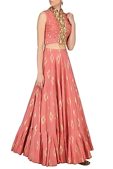 Coral Pink Embroidered Crop Top by Salian by Anushree