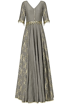 Mud Grey Embroidered Anarkali Gown by Salian by Anushree