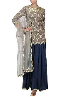 Mud Grey Embroidered Kurta with Palazzo Pants by Salian by Anushree