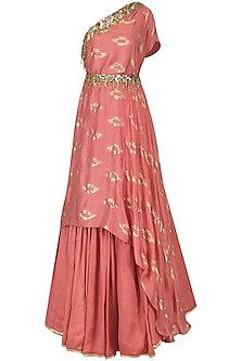 Coral Pink Embroidered Drape Kurta with Skirt