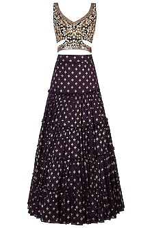 Purple embroidered printed lehenga set