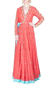 Coral Embroidered Wrap Up Anarkali Gown by Salian by Anushree