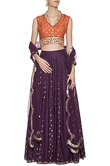 Brown and rust embroidered foil print lehenga set by SALIAN BY ANUSHREE