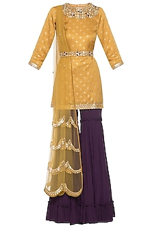 Yellow and purple embroidered foil print sharara set by SALIAN BY ANUSHREE