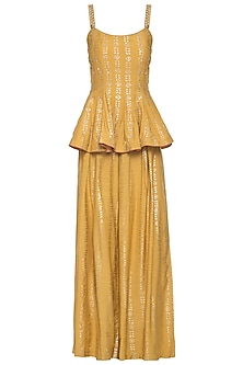 Mustard embroidered foil print peplum top with palazzo pants set