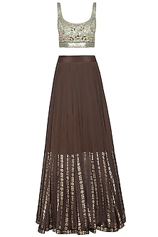 Brown and mint blue embroidered foil print lehenga set
