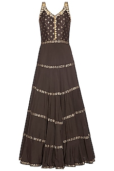 Brown embroidered foil print anarkali gown set