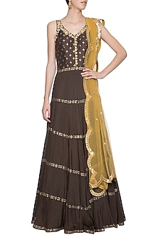 Brown embroidered foil print anarkali gown set by SALIAN BY ANUSHREE