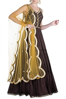 Brown Embroidered Printed Anarkali Gown With Dupatta by Salian by Anushree