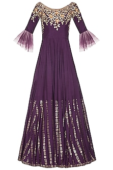 Purple embroidered foil print anarkali gown set