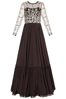 Brown embroidered foil print anarkali gown