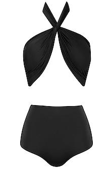 Black Halter Neck Ruched Bikini Set