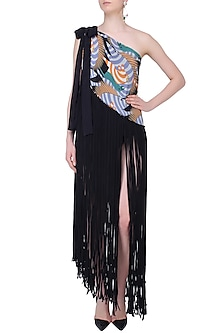 Black and Blue Brute Print One Shoulder Fringed Pareo Dress by Shivan & Narresh
