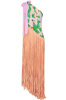 Peach Cacti Print One Shoulder Fringed Pareo Dress
