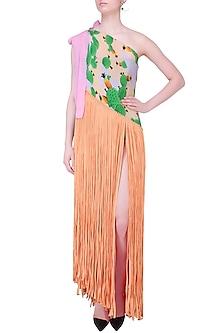 Peach Cacti Print One Shoulder Fringed Pareo Dress by Shivan & Narresh