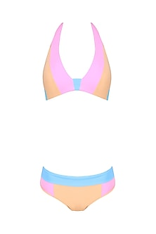 Peach, Purple and Sky Blue Colo Block Bikni Set
