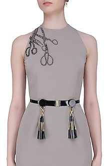 Black Leather Tassels and Metallic Trims Belt