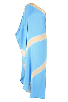 Turquoise Blue Ombre Dyed Lines One Shoulder Kaftan