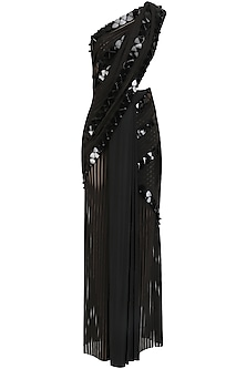Black Onyx Skein Work Linear Lace Saree with Lace Malliot