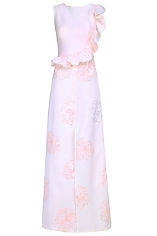 Blush Pink Sequins Floral Work Ruffled Maxi Gown