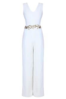 Separmint and Pastel Blue Leaves Embroidered Jumpsuit