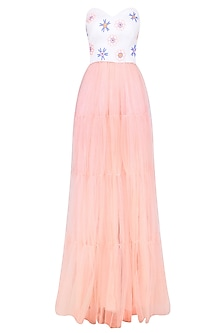 Peach and Pastel Blue Floral Motifs Tiered Gown by Shainah Dinani