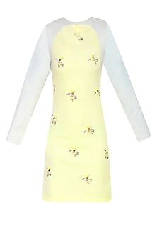 Lemon Yellow Embroidered Bird Motifs Shift Dress