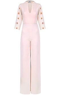 Peach Sequins Embellished Wide Legged Jumpsuit by Shainah Dinani