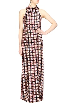Checkered collared long evening gown by Shainah Dinani