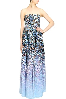 Black and light blue butterfly strapless gown by Shainah Dinani