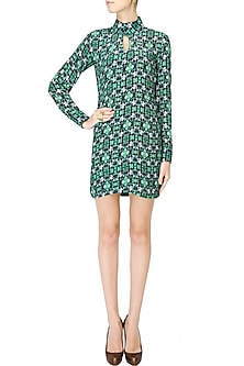Forest green wallpaper midi dress by Shainah Dinani