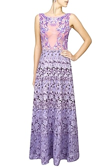 Mauve floral long gown by Shainah Dinani