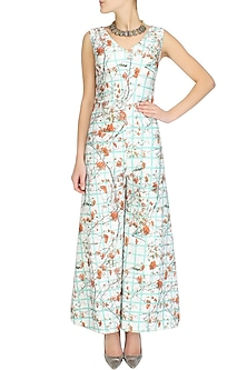 Off white graphical checkered and floral printed retro inspired jumpsuit by Shainah Dinani