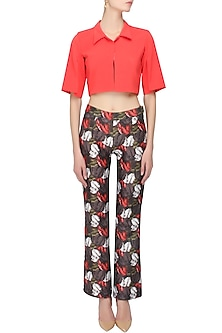 Crimson red cape overlayered top and grey leaves printed trouser pants set by Shainah Dinani
