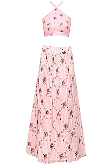 Pink floral printed halter neck crop top and flared skirt set