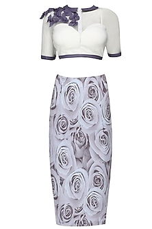 White corset jacket top with grey 3D rose print skirt