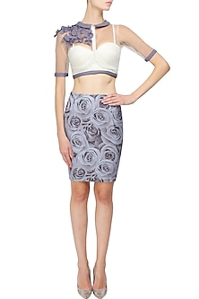 White corset jacket top with grey 3D rose print skirt by Shainah Dinani