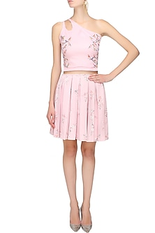 Light lavender pink bird print cutout crop top and floral skirt set by Shainah Dinani