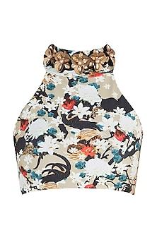 Multicolour praslin halter high neck bikini top