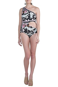 Multicolour eden noir one shoulder cutout swimsuit by Shivan & Narresh
