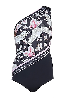 Multicolour eden noir one shoulder swimsuit by Shivan & Narresh
