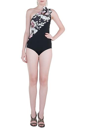 Black eden noir and noir one shoulder bow swimsuit by Shivan & Narresh