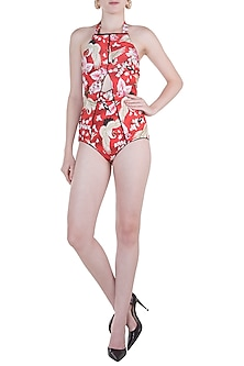 Red eden schiele edges swimsuit by Shivan & Narresh