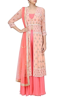 Peach Embroidered Jacket with Pink Bustier and Sharara Pants by Sanna Mehan