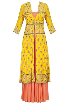Poppy Yellow Embroidered Jacket with Peach Bustier and Sharara Pants