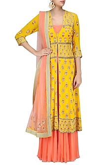 Poppy Yellow Embroidered Jacket with Peach Bustier and Sharara Pants by Sanna Mehan