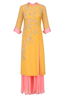 Mustard Yellow and Pink Embroidered Kurta Set