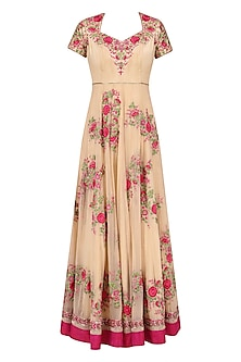 Beige and Pink Embroidered Anarkali Set